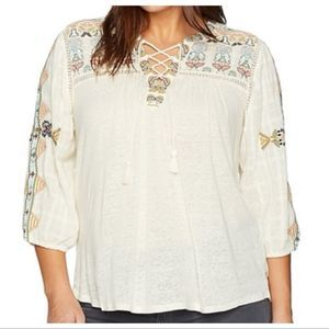 Lucky Brand Blouse Embroidered Shoulder & Neck 2X